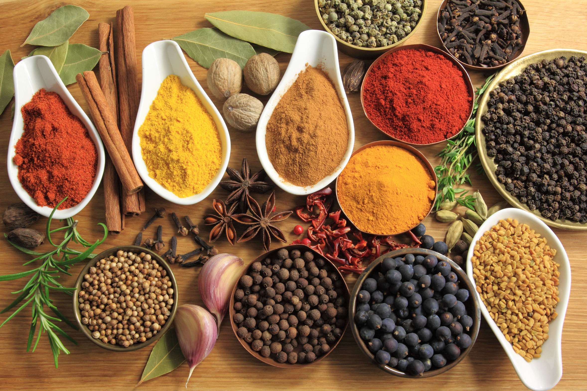 Food ingredients - herbs and spices. Culinary background.
