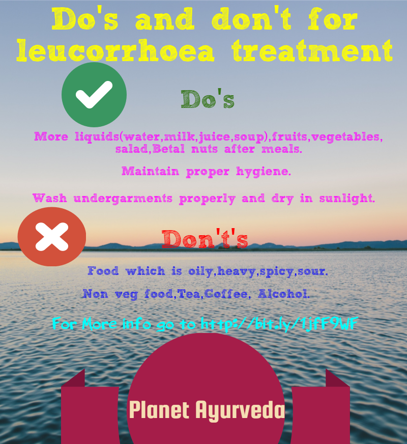 Do's and don't's for leucorrhoea treatment