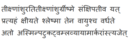 Classification of seasons according to Ayurveda: