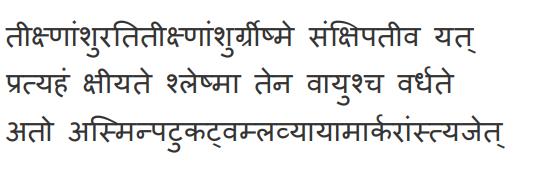 Classification of seasons according to Ayurveda: