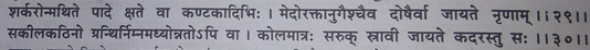 This shloka explains that in Ayurveda corns are called Kadara and Kelavat. While walking, repeated injuries from sand and stone can affect muscle tissue along with blood vessels.